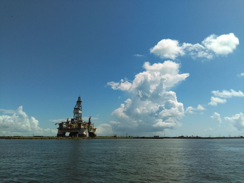Oil Rig In Background Clouds Formation Thunderhead Clouds Distant View Ocean View Ocean Photography
