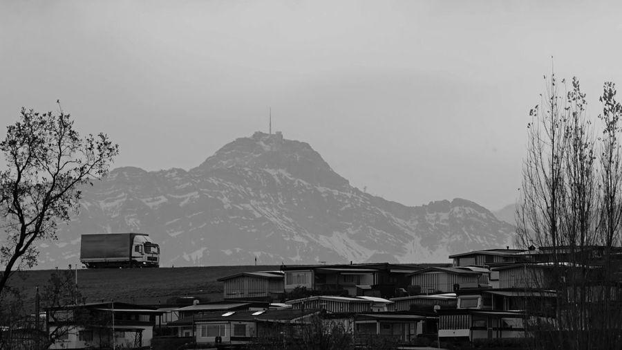 Black & White Landstrasse Mountain Mountain Peak Mountain Range No People Scenics Säntis Truck
