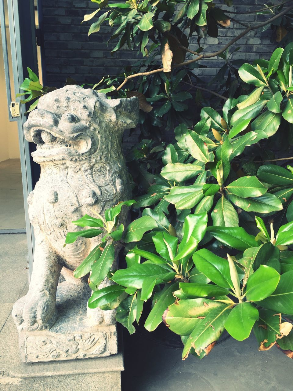 statue, sculpture, animal representation, art and craft, day, no people, outdoors, green color, plant, leaf, growth, dragon, gargoyle, nature, close-up, animal themes, chinese dragon