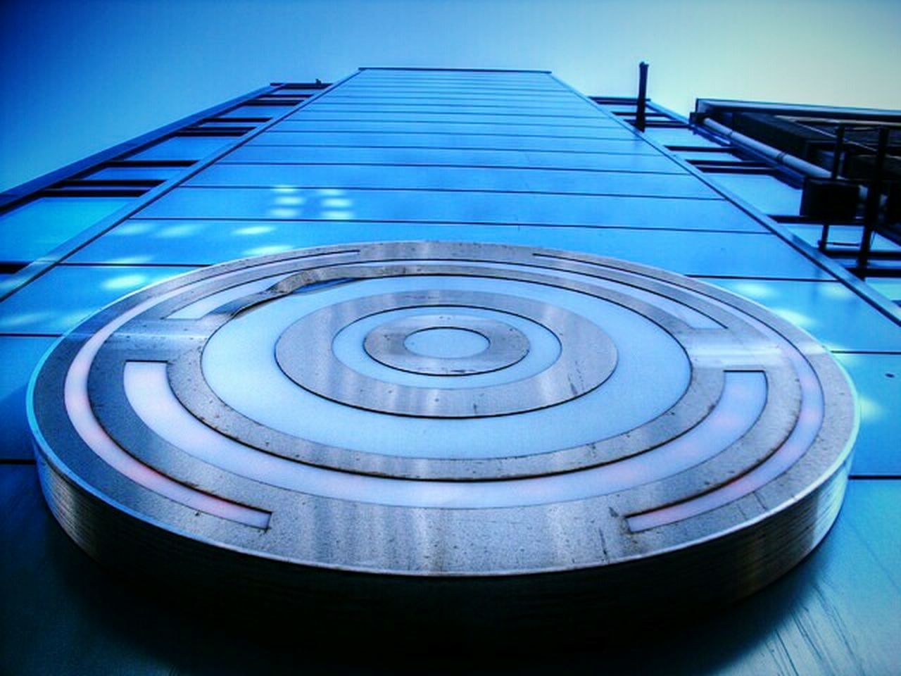 blue, no people, architecture, built structure, curve, concentric, day, outdoors, sky, close-up