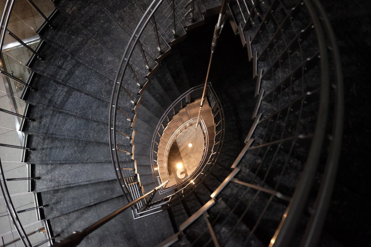 spiral, steps and staircases, staircase, indoors, no people, illuminated, night, spiral staircase, clock, architecture, close-up, clock face
