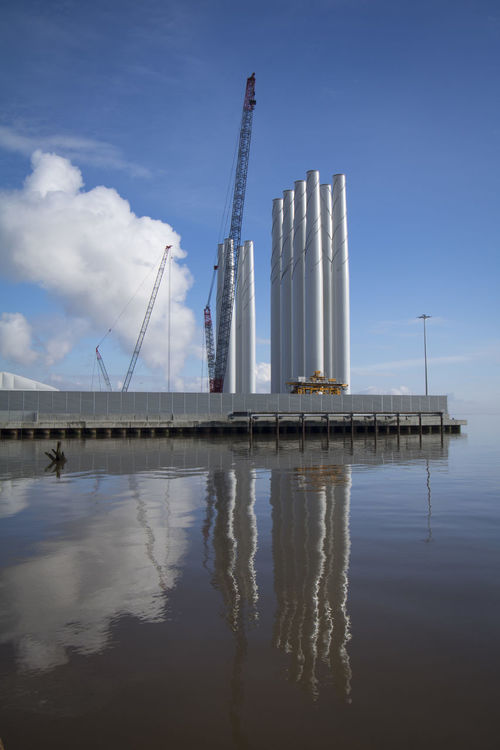 Architecture Bridge - Man Made Structure Built Structure Business Finance And Industry City Cloud - Sky Day Factory Hull City Of Culture 2017 Humber Estuary Industry Nature No People Outdoors Reflections In The Water Sea Sky Skyscraper Water Wind Turbine Wind Turbine Construction