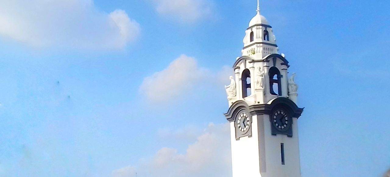 religion, spirituality, sky, cloud - sky, low angle view, place of worship, day, no people, clock tower, architecture, building exterior, outdoors, bell tower, built structure, clock, blue, time
