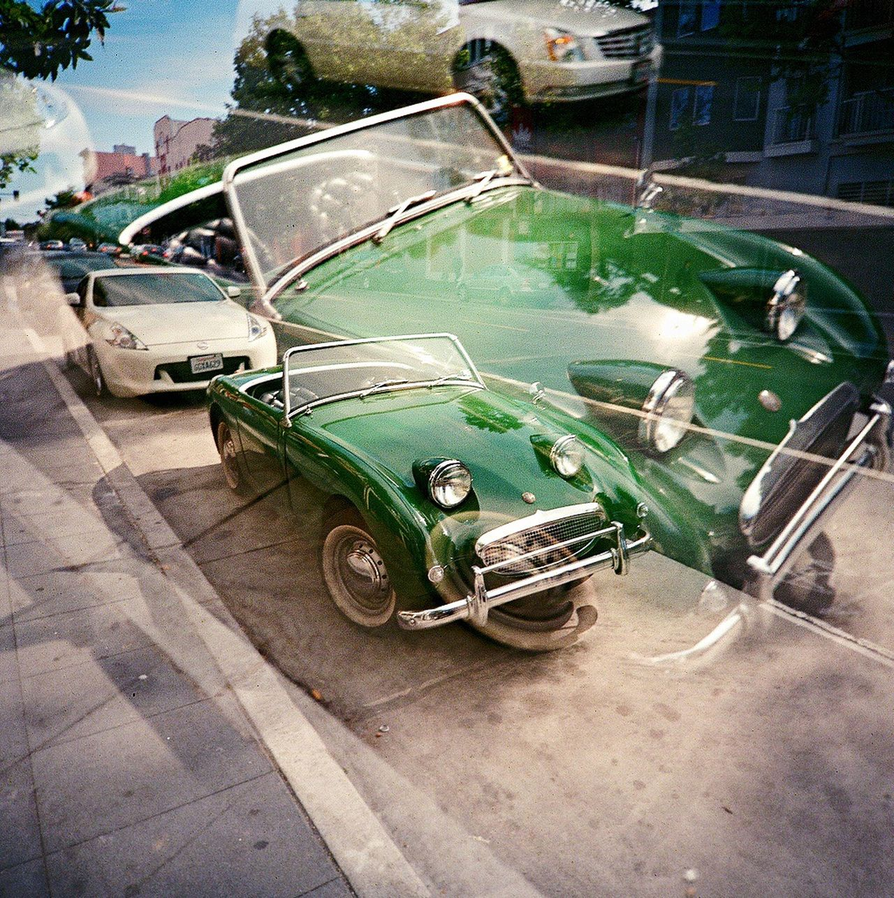 Multiple Exposures Car Green Color Outdoors Film Austin Healey Koduckgirl Film Photography Convertible