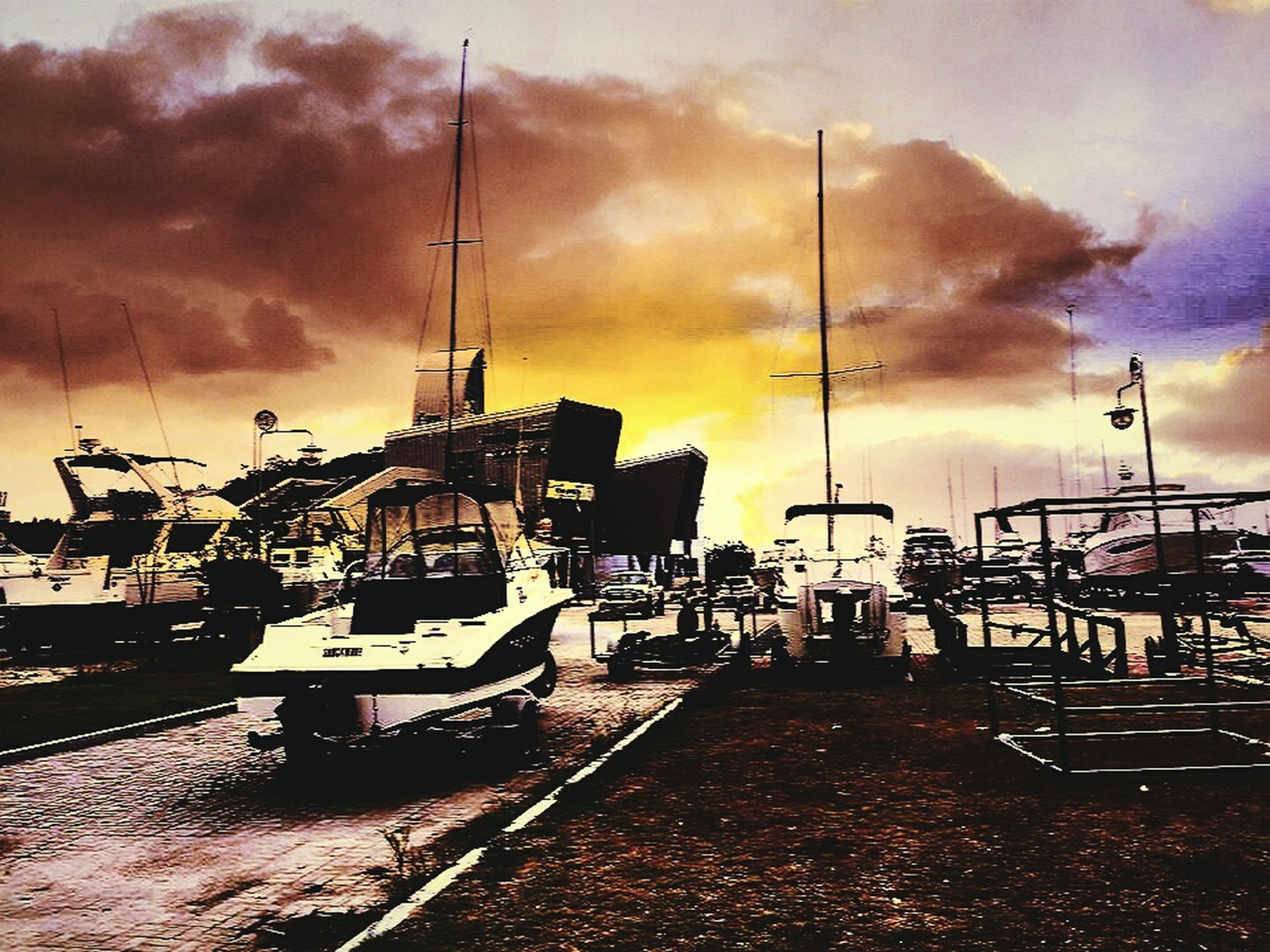 transportation, mode of transport, nautical vessel, cloud, sky, cloud - sky, sunset, cloudy, dramatic sky, storm cloud, orange color, in front of, outdoors, atmospheric mood, no people, the way forward, cloudscape