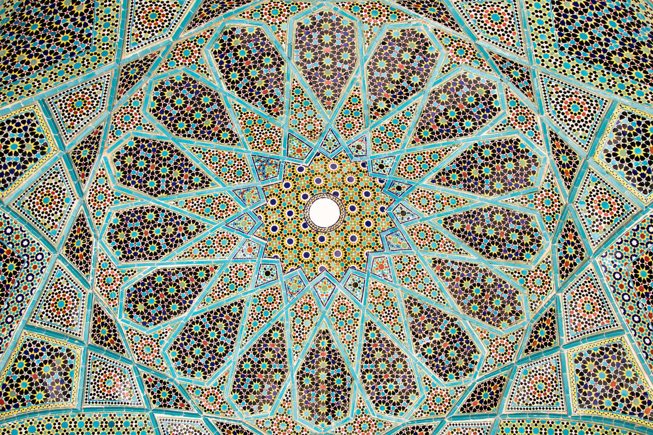 Ceiling Colourful Design Detail Dome Full Frame Geometric Shape Iran Middle East Ornate Pattern Persia Repetition Symetrical