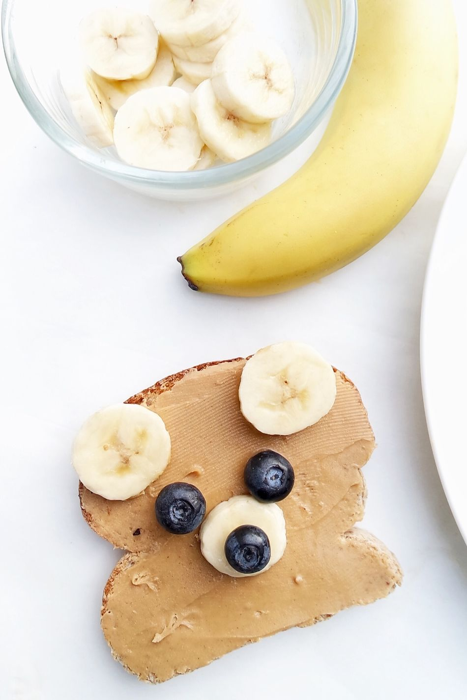 Bear shaped sandwich Banana Food Directly Above Healthy Eating No People Ready-to-eat Healthy Bread Close-up Breakfast Toasted Bread Sandwich High Angle View