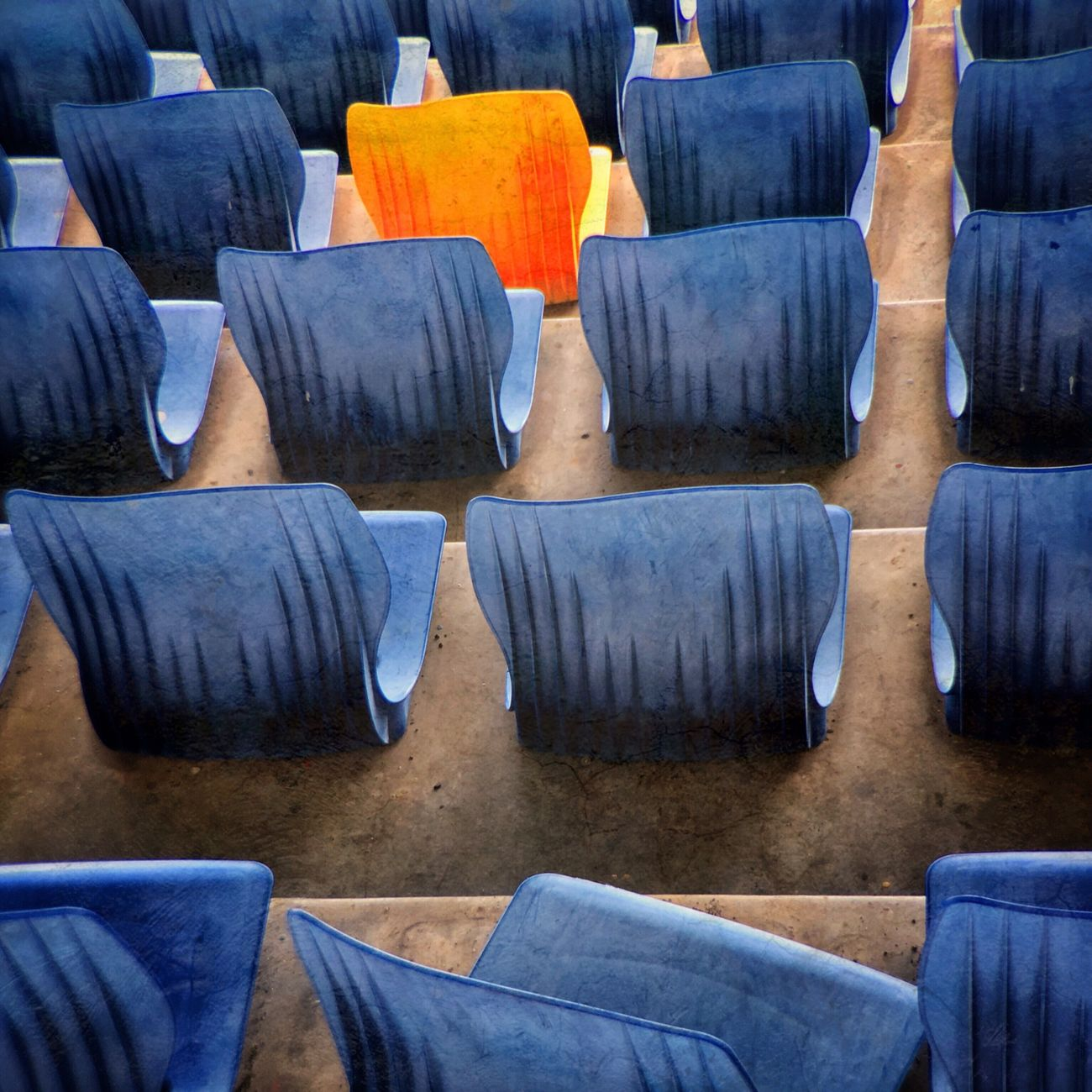 SUBVERSIVE Architectural Blue Design In A Row Metaphor Outdoors Seats Stadium Symbolism Yellow