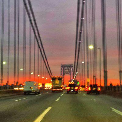 Nycprimeshot Nyclovesnyc Icapture_nyc NYC Manhattan Todaysunrise Sunrise Nature GWB Goodmorning GeorgeWashingtonBridge Bridge Bridgescape