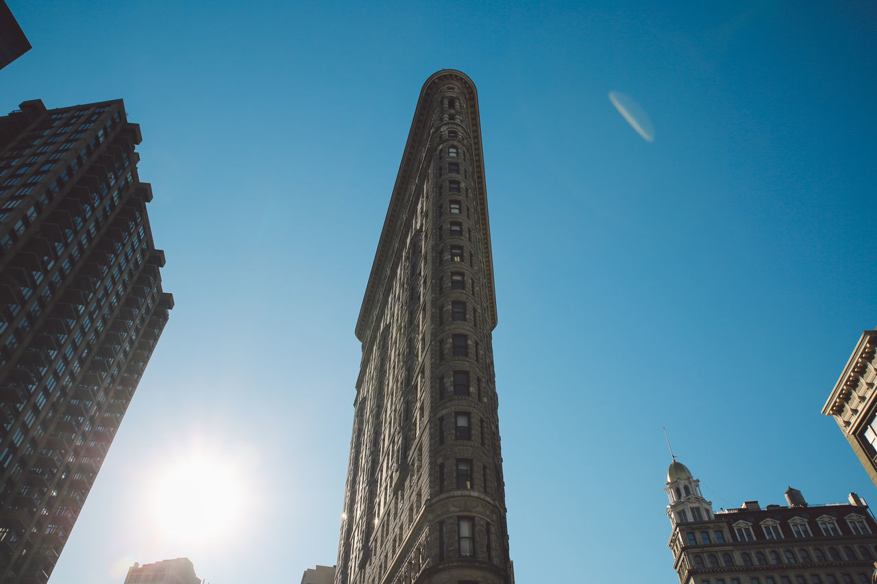 Architecture Blue Sky Building Exterior Built Structure City Clear Sky Day Flatiron Building Low Angle View Manhattan New York New York City No People NYC Outdoors Sky Skyscraper Sunny The City Light Tower Travel Destinations Urban Skyline Winter