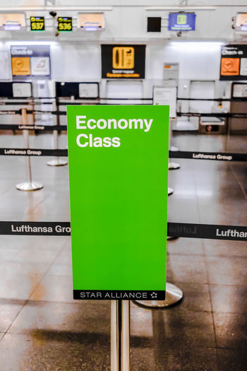 Lufthansa Economy Class Check in area in Terminal 2 Madrid Barajas Airport. Economy Green Lufthansa Passenger T2 Transportation Travel Airline Airlines Barajas Check In Close-up Communication Departure Economy Class Editorial  Green Color Hall Indoors  No People Text Travel Destinations