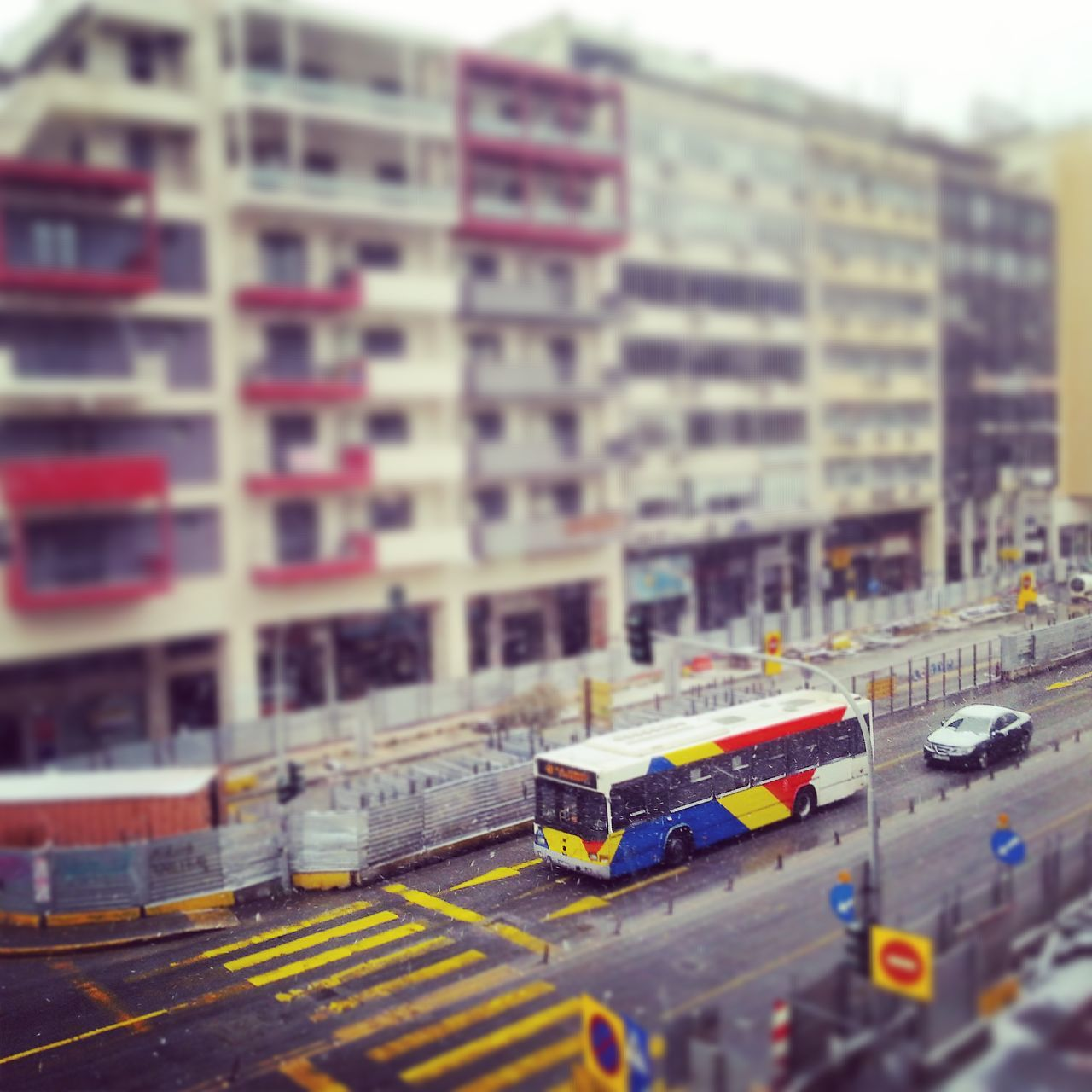Bus on city street