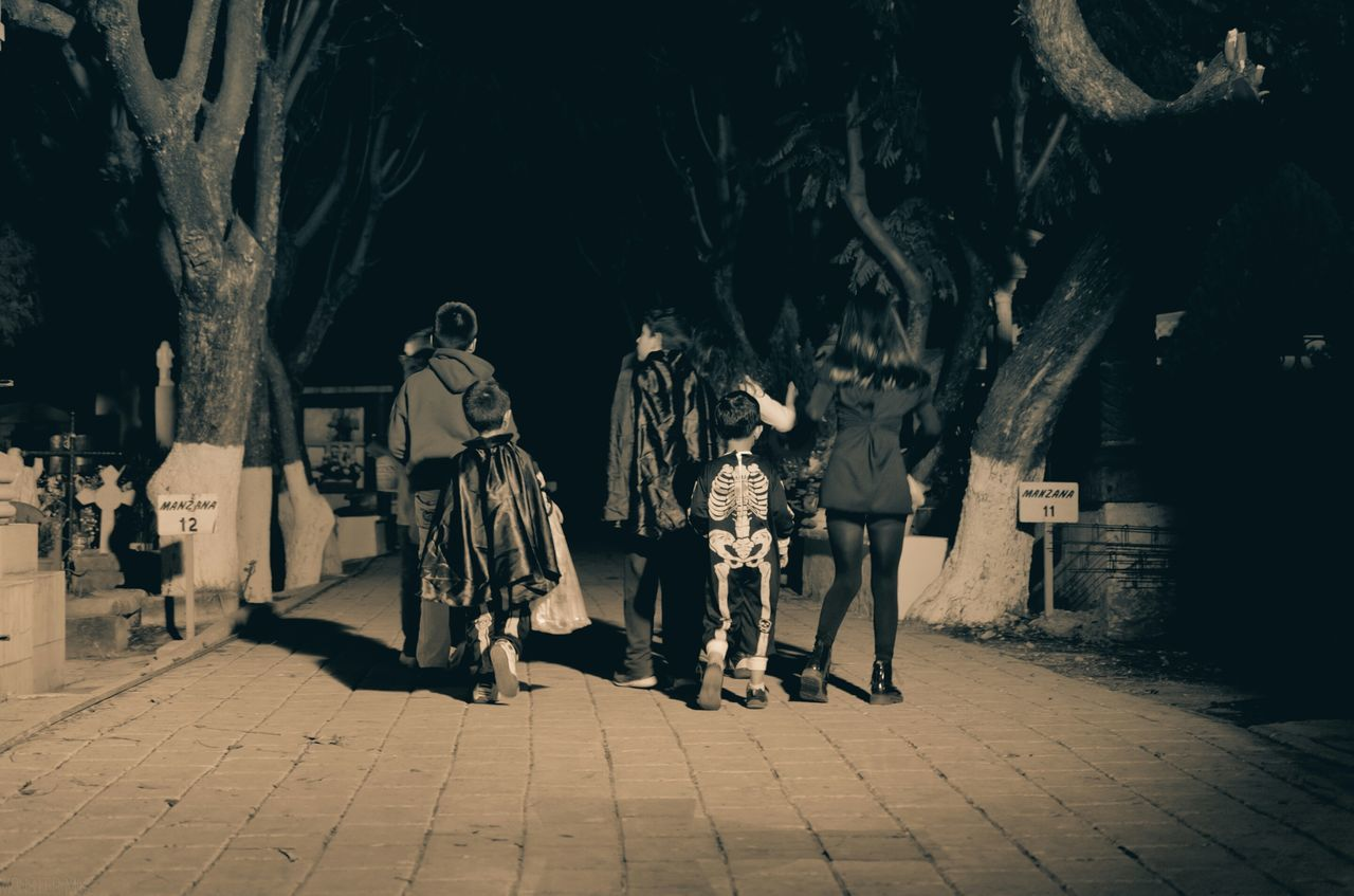 Rear View Of Children In Costume During Halloween At Cemetery