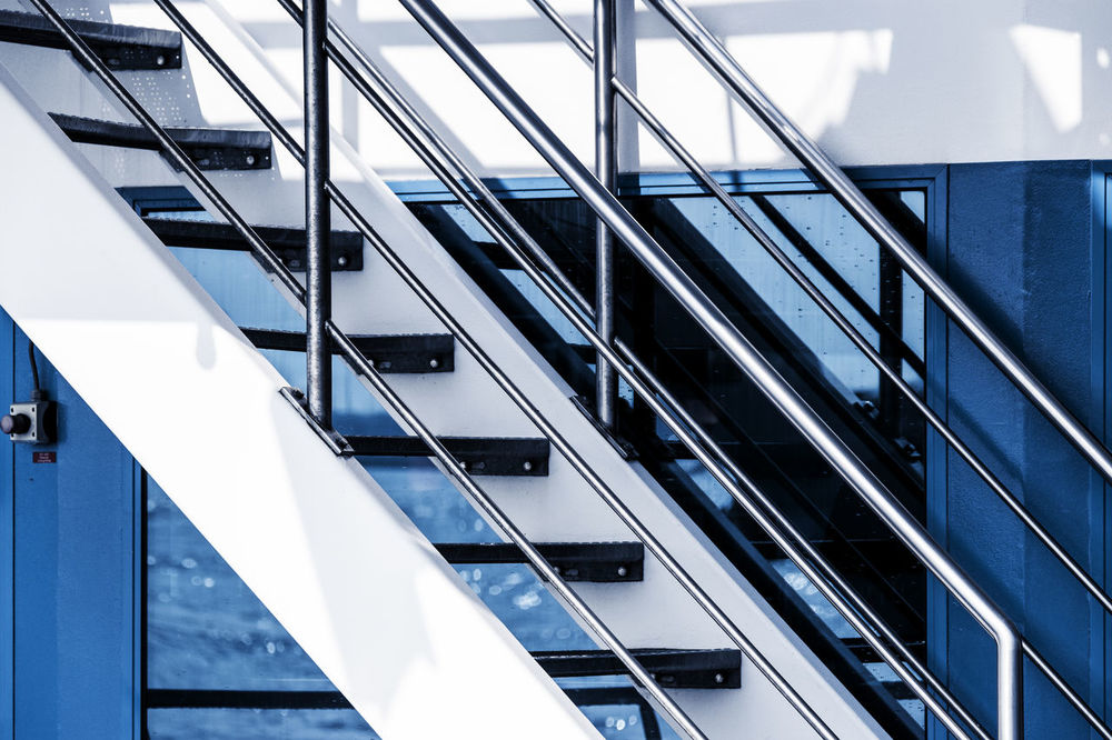 stairs Blue Elbe River Hamburg Harbour No People Outdoor Railing Stairs Sunlight And Shadow