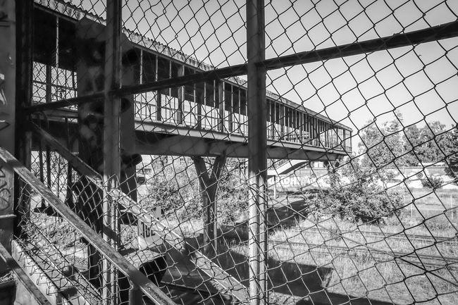Abondoned Architectural Feature Backgrounds Bridge Brücke Built Structure Chainlink Fence Close-up Fence Fußgängerbrücke No People Pedestrian Sky Urbex Zaun