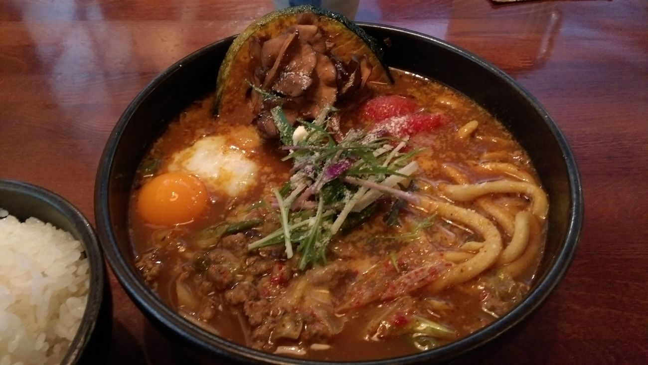 Curry Spiced Up Foodporn Lunch Food Porn ラムキーマと温玉キャベツ+舞茸+うどん+チーズ+ホールトマト