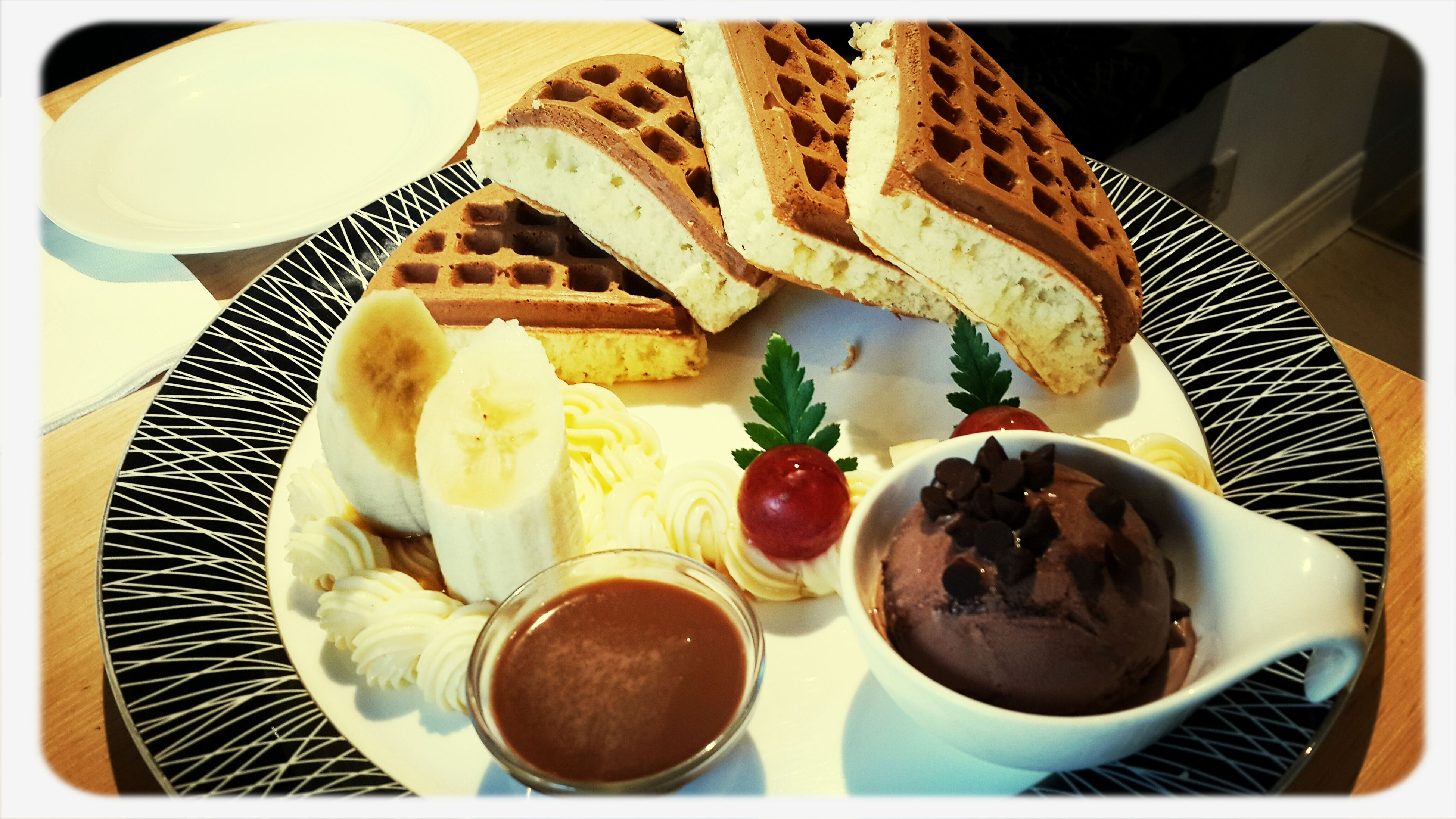food and drink, food, indoors, plate, freshness, ready-to-eat, still life, sweet food, dessert, table, breakfast, indulgence, unhealthy eating, high angle view, serving size, transfer print, bread, bowl, close-up, temptation