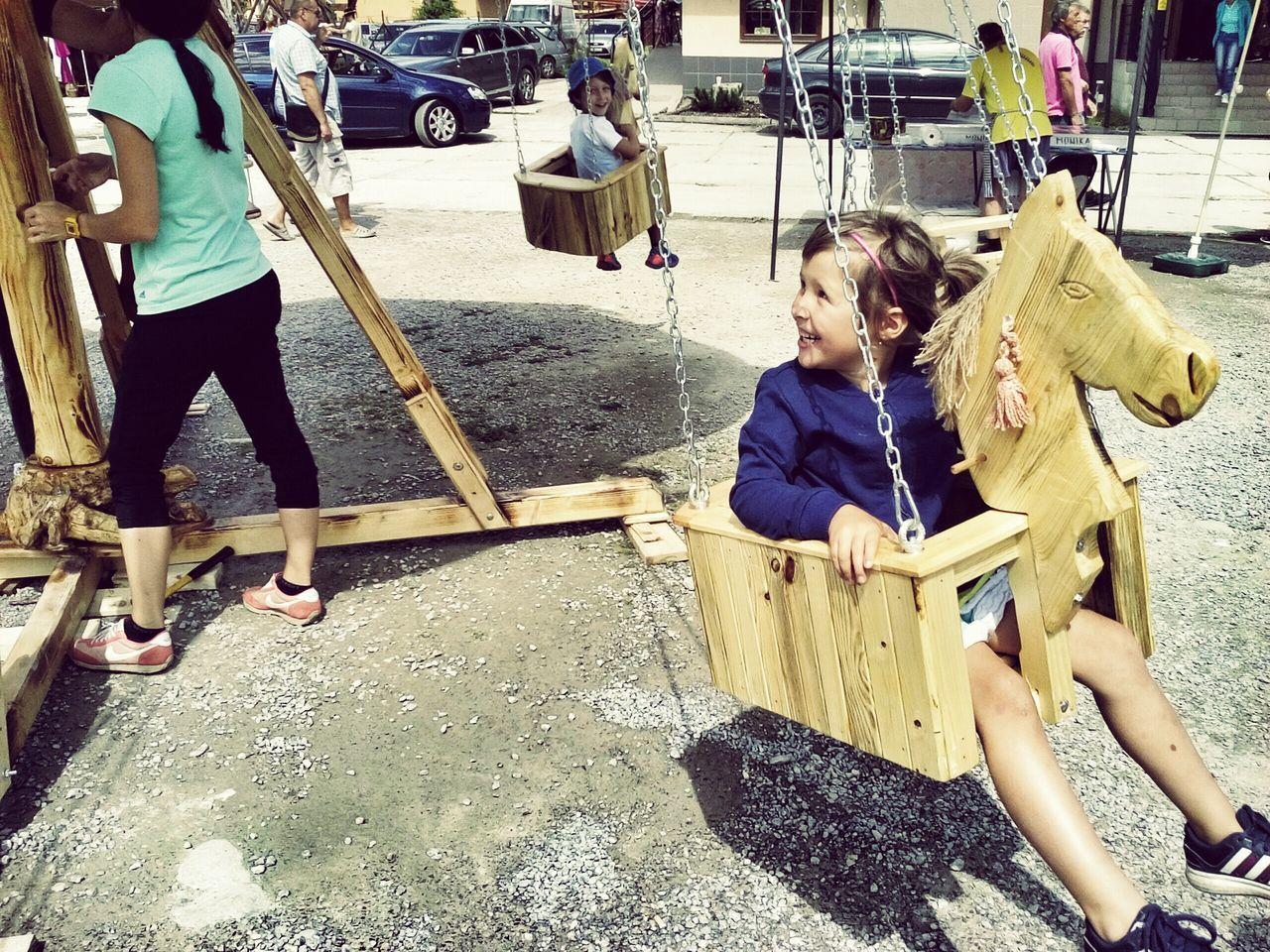 Man Powered Ecological Wooden Carousel Kids Having Fun Wooden Horse Enjoy Your Ride
