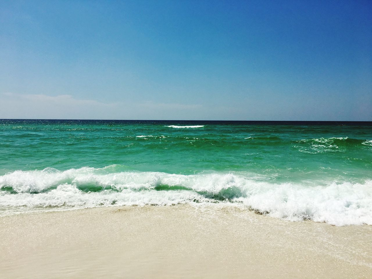 Pensacola Florida Sea Beach Wave Horizon Over Water Beauty In Nature Scenics Nature Water Sand Blue Tranquility Tranquil Scene Day Outdoors No People Sky Clear Sky
