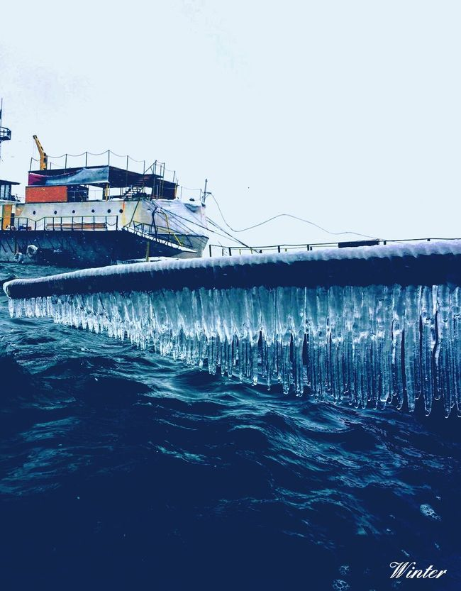 Water Sea Blue Sky Day No People Nature Outdoors Beauty In Nature Icicles Ice Cold Temperature Winter Snow Morning Ship