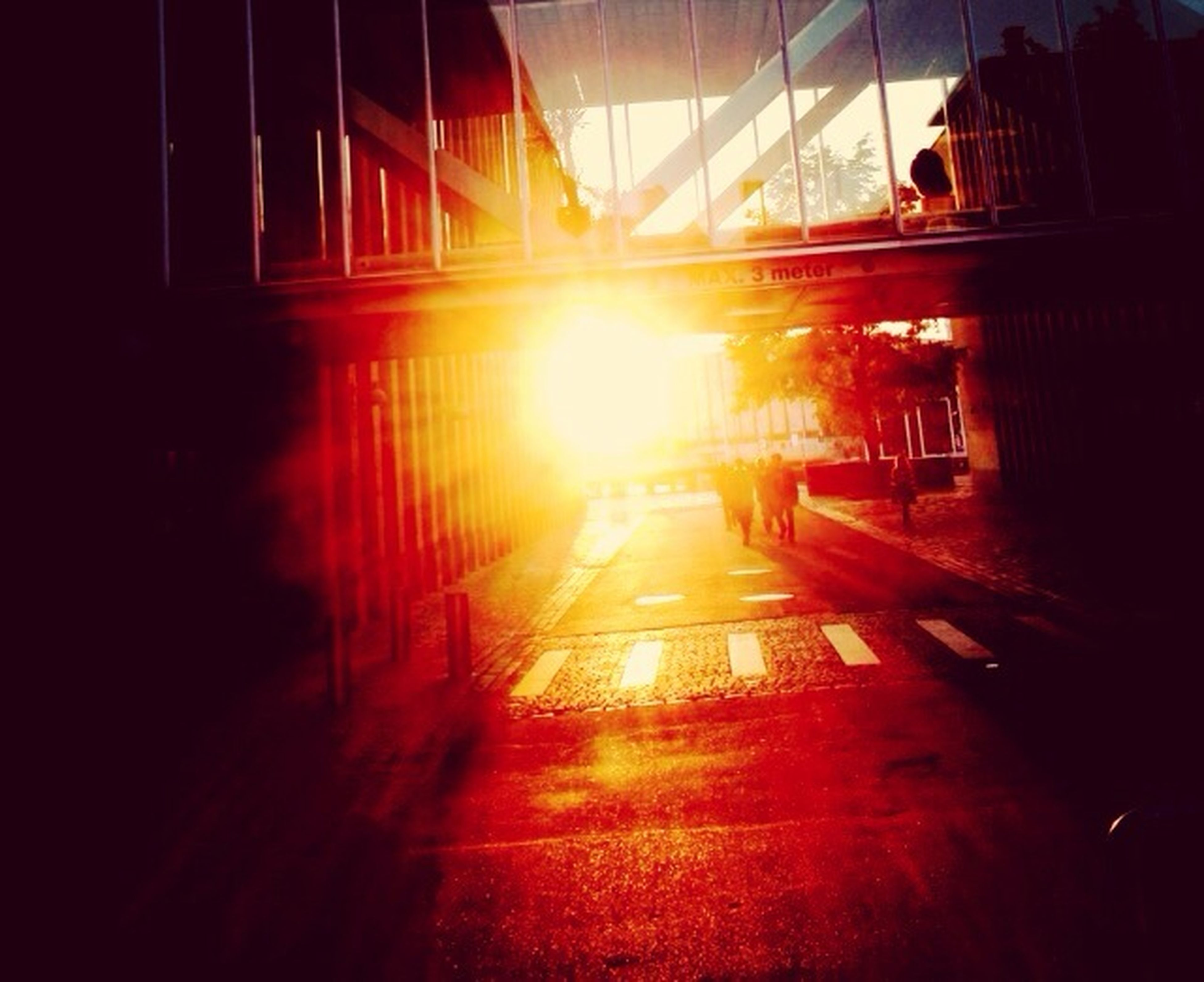 sun, sunbeam, sunlight, sunset, lens flare, built structure, architecture, transportation, indoors, the way forward, building exterior, orange color, reflection, silhouette, building, railing, city, bright, no people, street