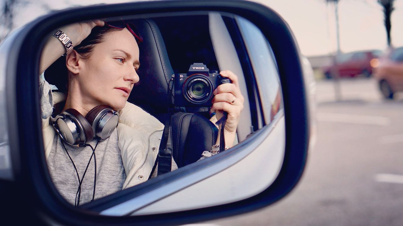 Mirror selfie 📷 Car Women Road One Person People Outdoors Close-up Portrait Day Adult Selective Focus Selfportrait EyeEm Gallery Sonyalpha7ii Sony Women Around The World