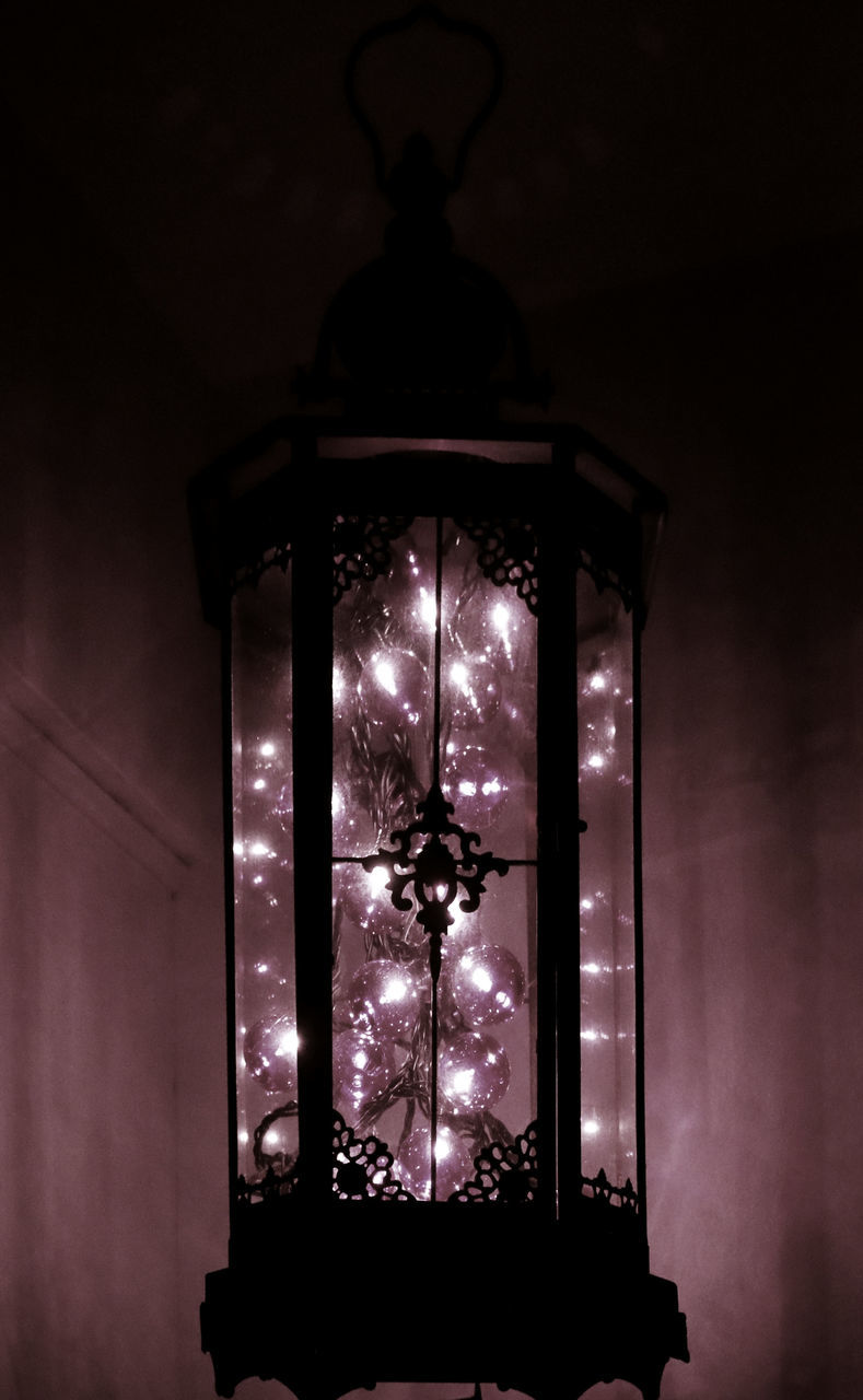 illuminated, lighting equipment, indoors, no people, low angle view, night, hanging, electricity, christmas, christmas decoration, close-up