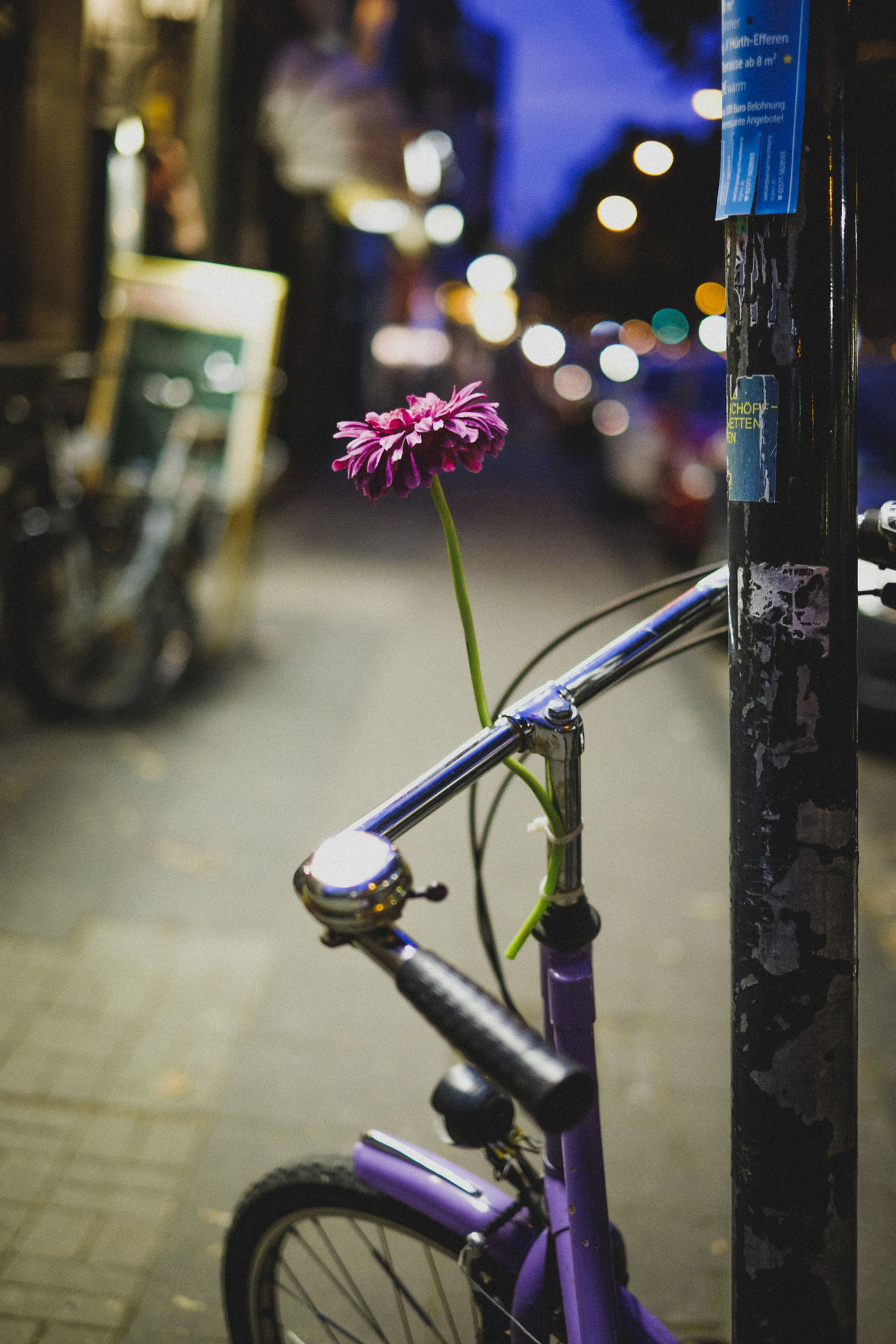 Bike Blue City City Life City Lights City Street Cityscape Cityscapes Close-up Focus On Foreground Part Of Selective Focus Stationary Cities At Night EyeEm X Huawei - Cities At Night