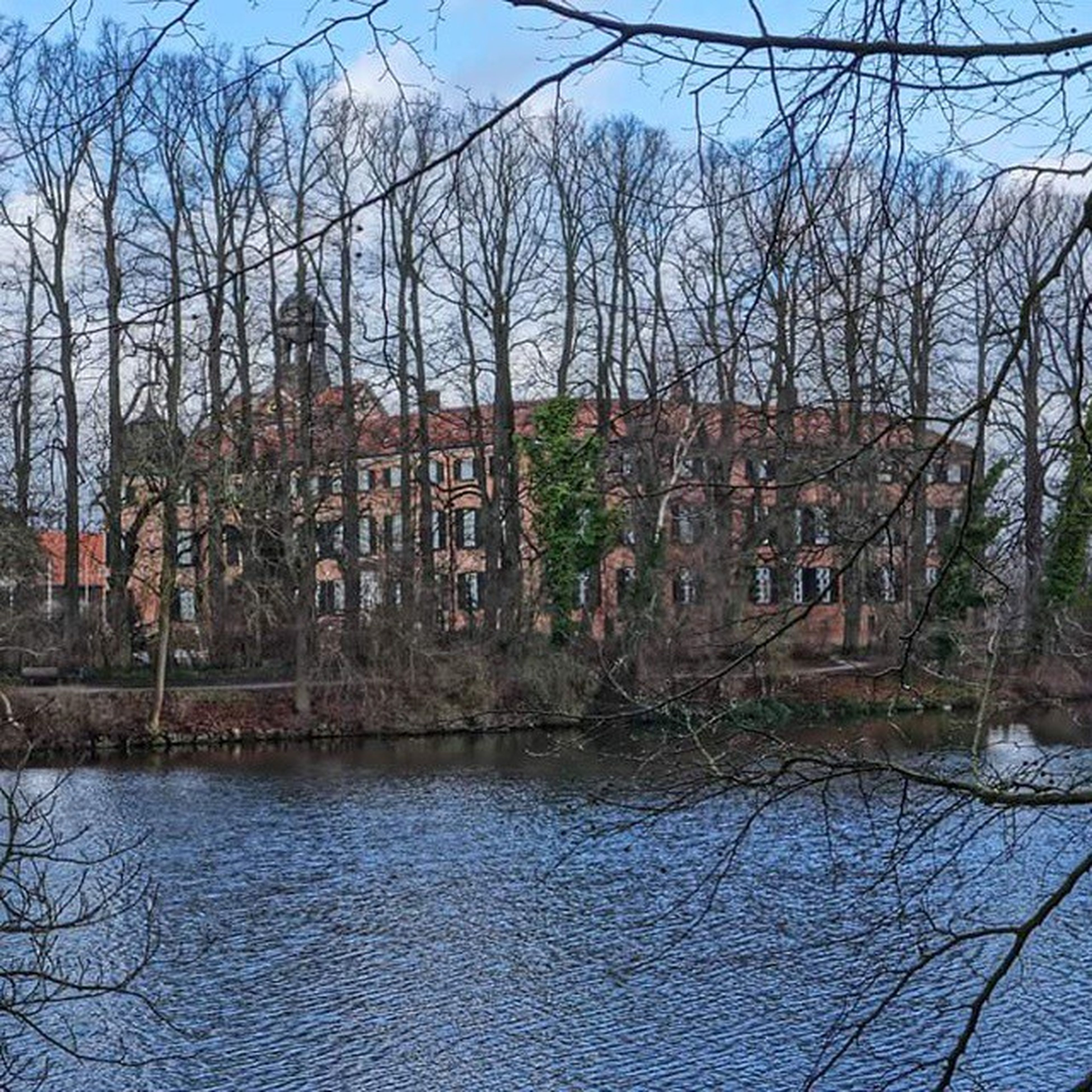 architecture, built structure, building exterior, bare tree, water, tree, reflection, sky, river, lake, house, day, branch, outdoors, waterfront, no people, history, city, residential building, nature
