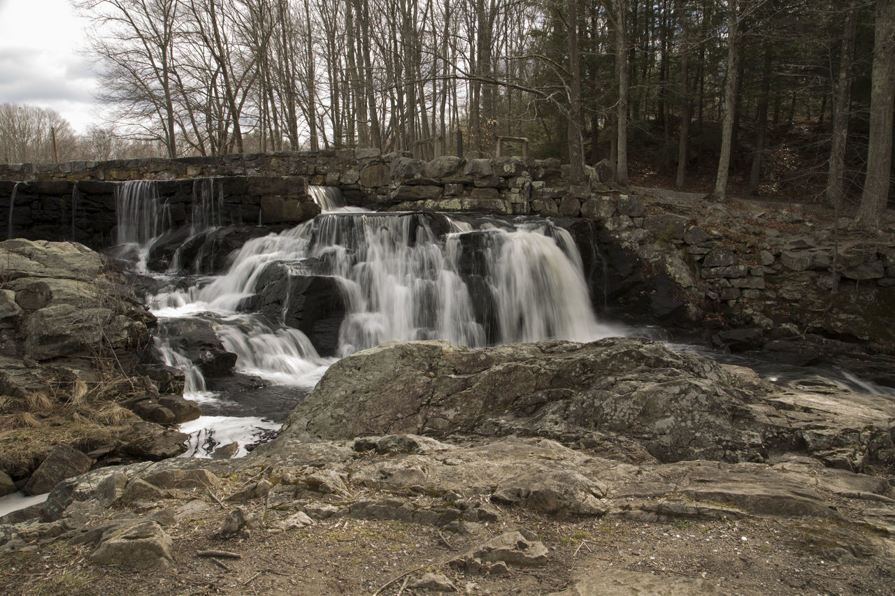 Beauty In Nature Cascade Clouds And Sky Connecticut Day Flowing Flowing Water Forest Long Exposure Motion Nature Non-urban Scene Outdoors Rock - Object Rock Formation Scenics Southford Falls State Park Stream Tranquil Scene Tranquility Tree Water Waterfall Wispy Water