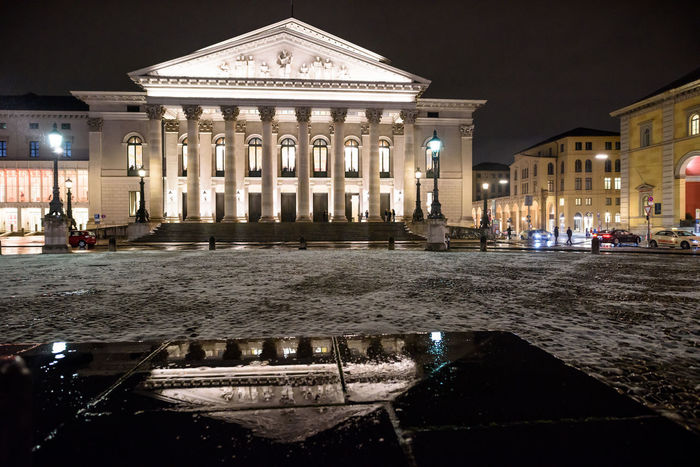 Historical Building Munich, Germany Spiegelung Architecture City Historische Plätze Historisches Gebäude Illuminated Mirror Reflection Munich Architecture Night No People Outdoors Residenztheater