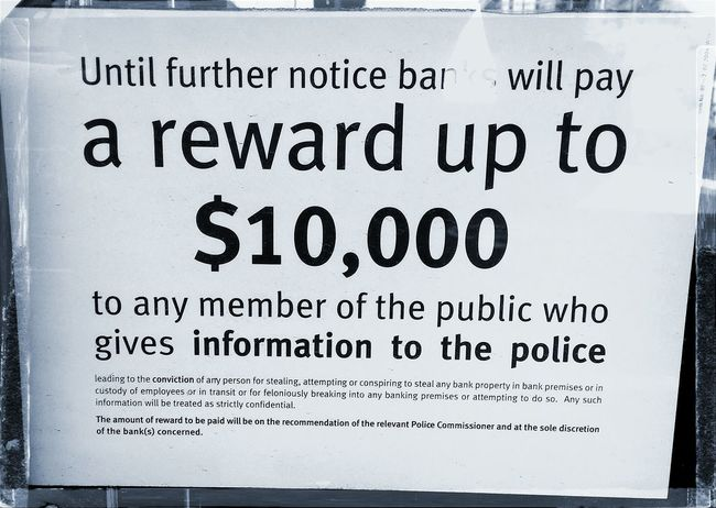 Bank Police Reward Security Bandits Hold Up Money Signs Robbers Cash