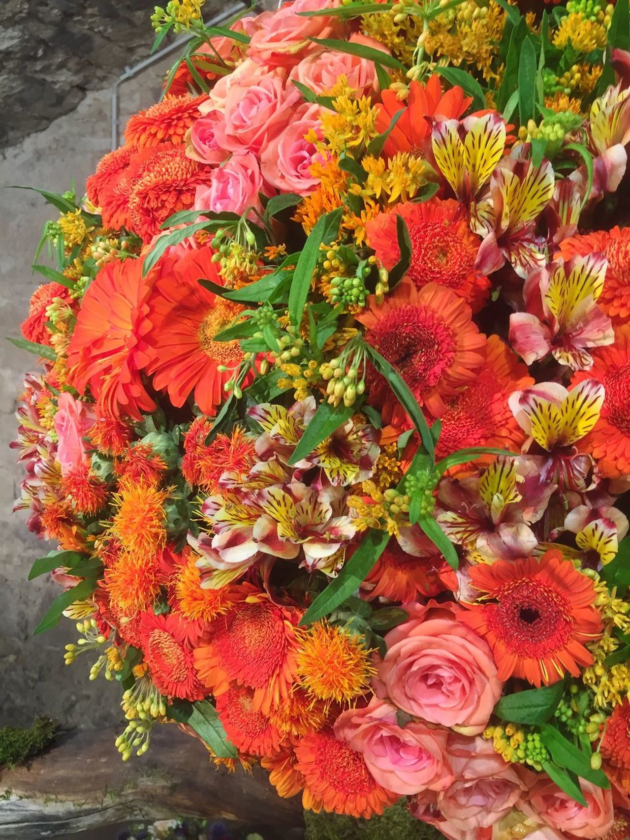Orange flower bouquet Flower Fragility Freshness Beauty In Nature Flower Head Petal Nature Bouquet Growth No People High Angle View Rose - Flower Plant Day Flower Shop Flower Market Outdoors Multi Colored Blooming Close-up Valentine's Day