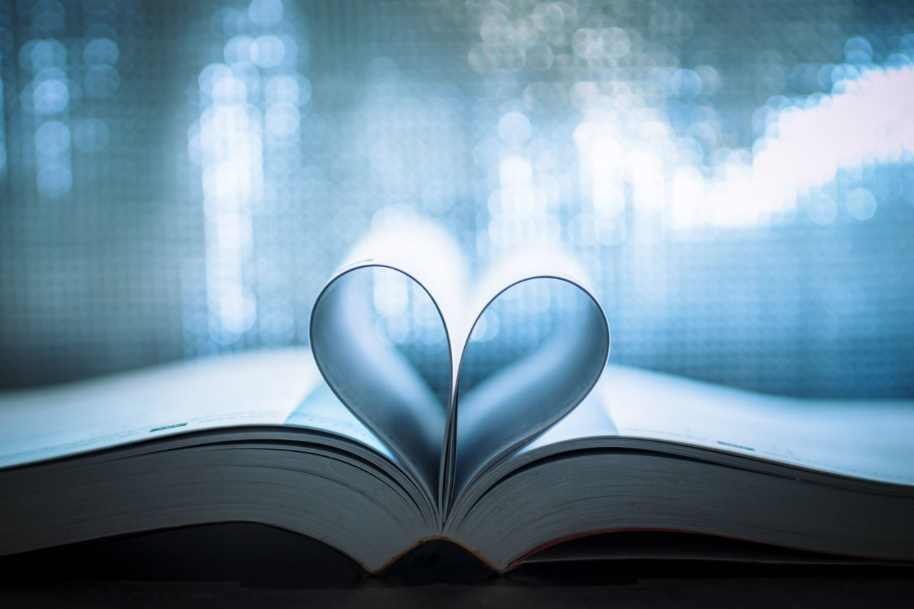 book, page, heart shape, education, indoors, close-up, open, no people, day