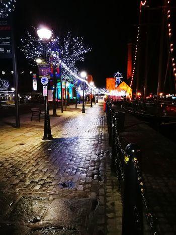 Night Illuminated City Street Wet Christmas Lights Outdoors Albert Docks Liverpool Waterfront