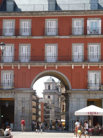 Arch Doorway Architecture Balconies Madrid, Spain Neighborhood Neighborhood Map Outdoors People People Watching Plaza Mayor (Madrid). Public Places Public Square Sightseeing Tourism