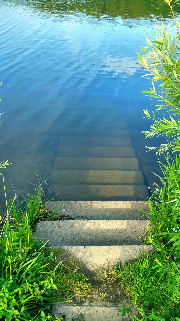 water, high angle view, lake, day, steps, no people, nature, tranquility, steps and staircases, outdoors, tranquil scene, growth, plant, grass, beauty in nature