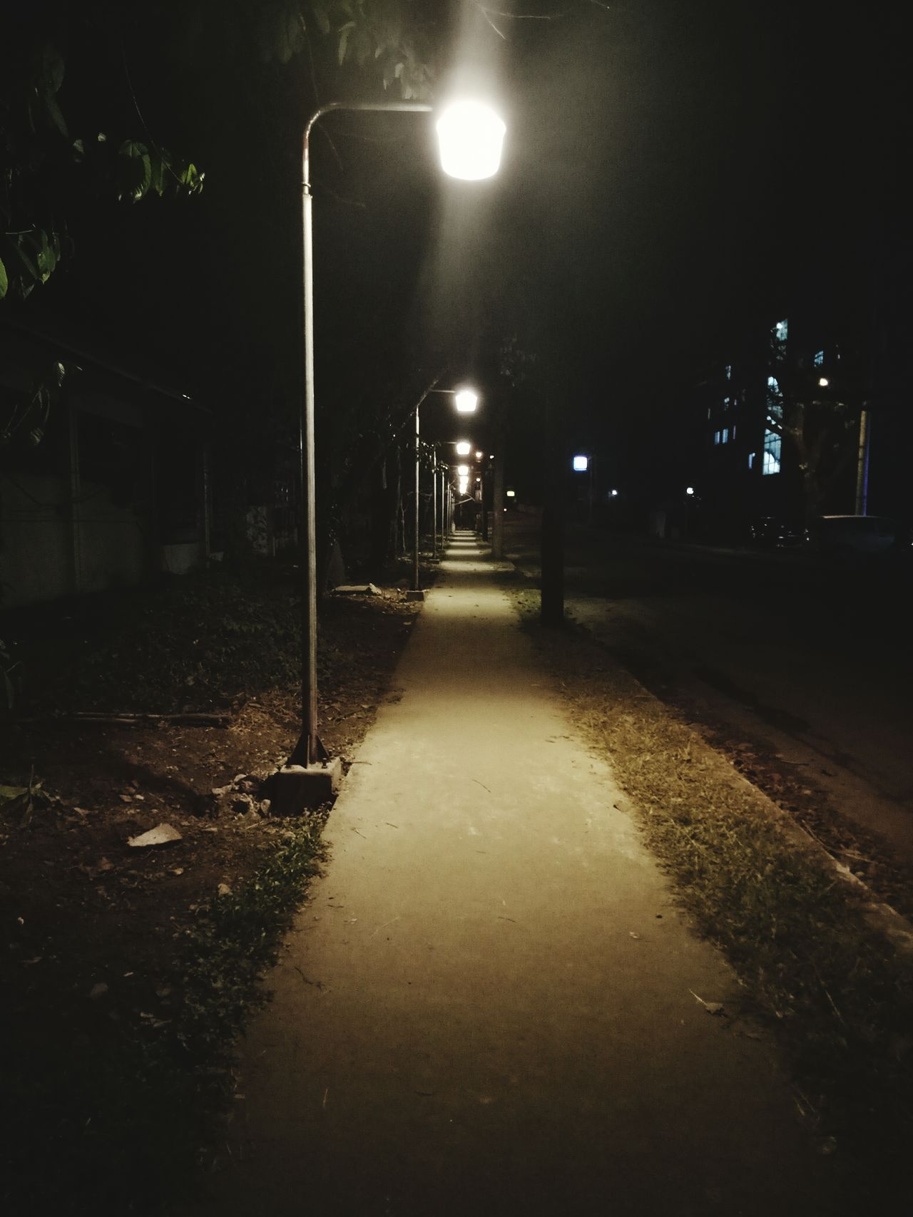 walking alone Night Illuminated Street Light Lighting Equipment No People Outdoors Tree Nature Sky Alone Night Life Quiet Quiet Night Lonely Road Road At Night Light