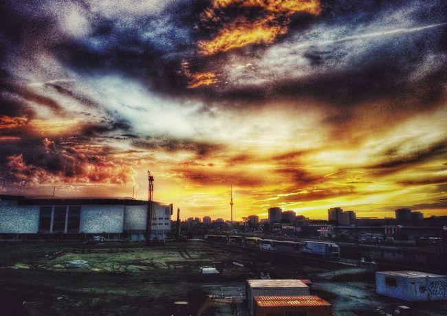 Berliner Ansichten Berlin Warschauerbrücke Skyline Sunset Sky City