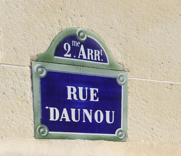 2nd Arrondiment Paris Street Sign Paris, France  Rue Daunau Architecture Blue Blue Signs Building Exterior Built Structure Close-up Communication Day No People Outdoors Text Wall - Building Feature