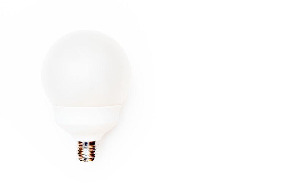 Big round lamp on white Brainwave Concept Enlightenment Eureka Idea Inspiration Intuition Light Bulb No People Studio Shot White Background White Color