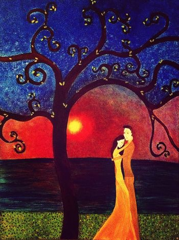Under the Tree of Eternity part 3 of a triptych Art Acrylic Painting Painting
