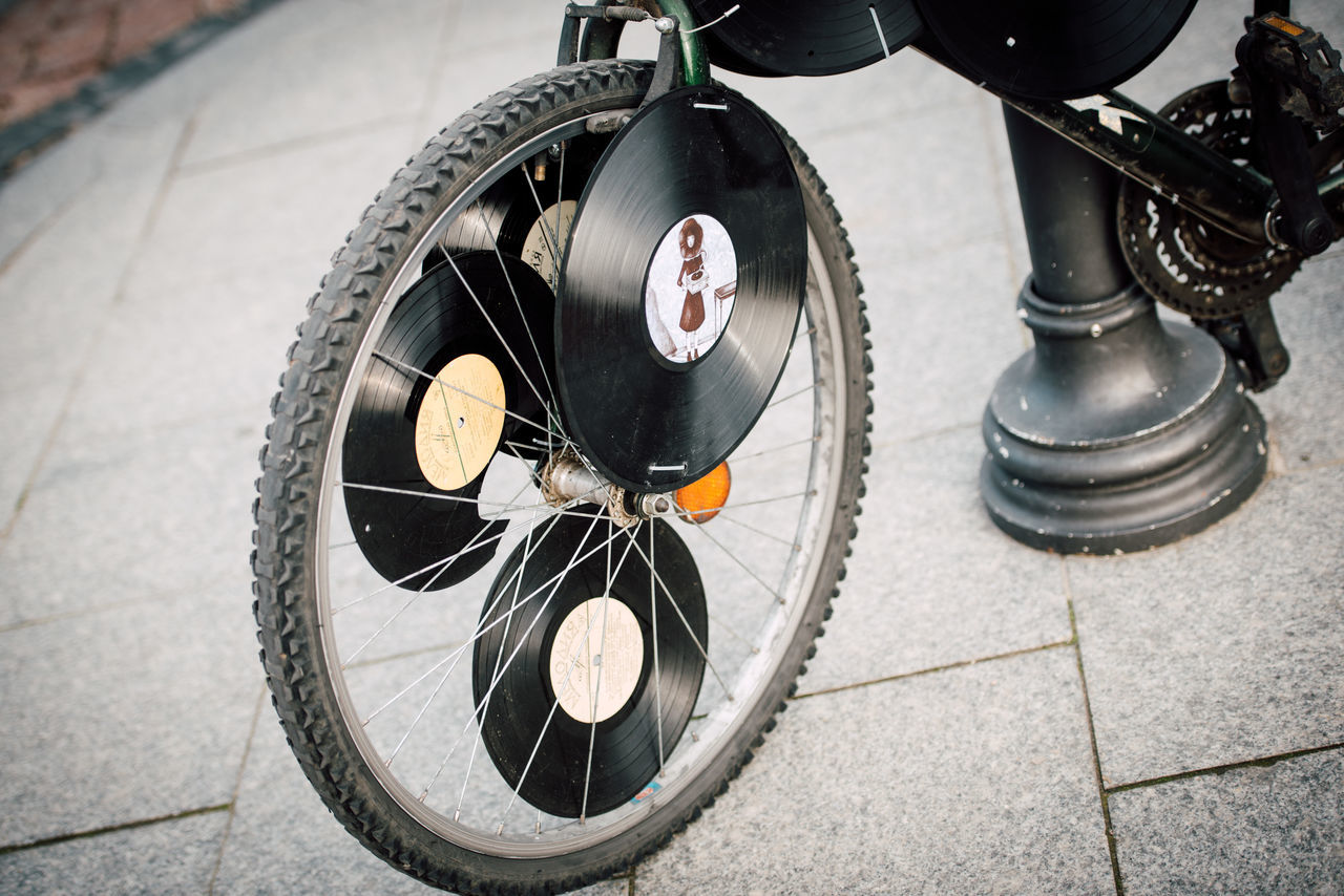 Bicycle Crazy Day Music No People Street Photography Vinyl Wheel