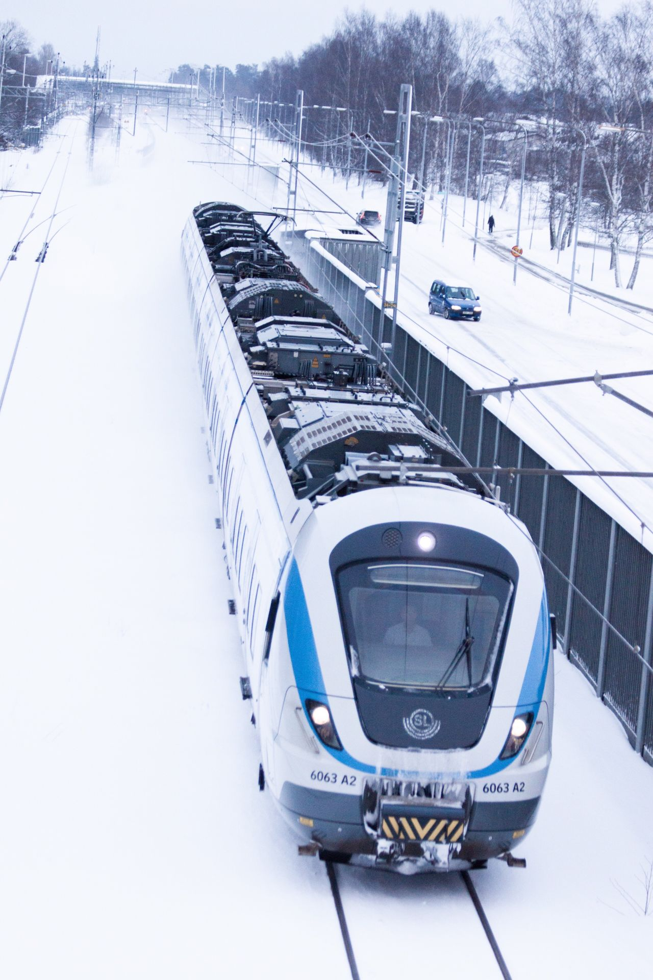 Commuter train in the winter picture 2 Transportation Commuter Train Snow Winter