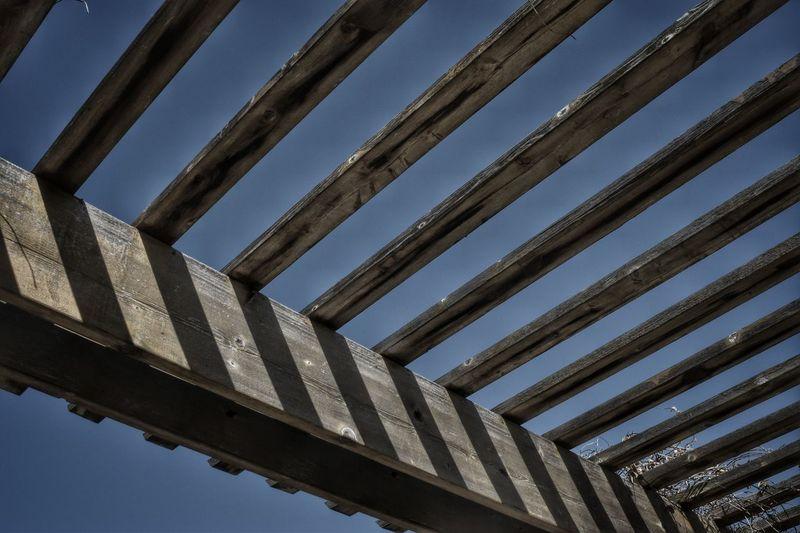 From Below Lines Outside Pattern Pergola Shadows Slats Wood