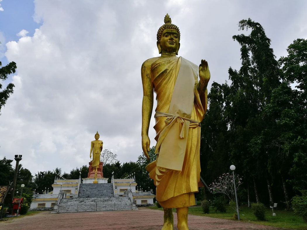 Religion Statue Cultures Place Of Worship Gold Colored Gold Architecture History Travel Destinations People Kelantan Malaysia Thai Temple Statue Place Of Worship Monastery
