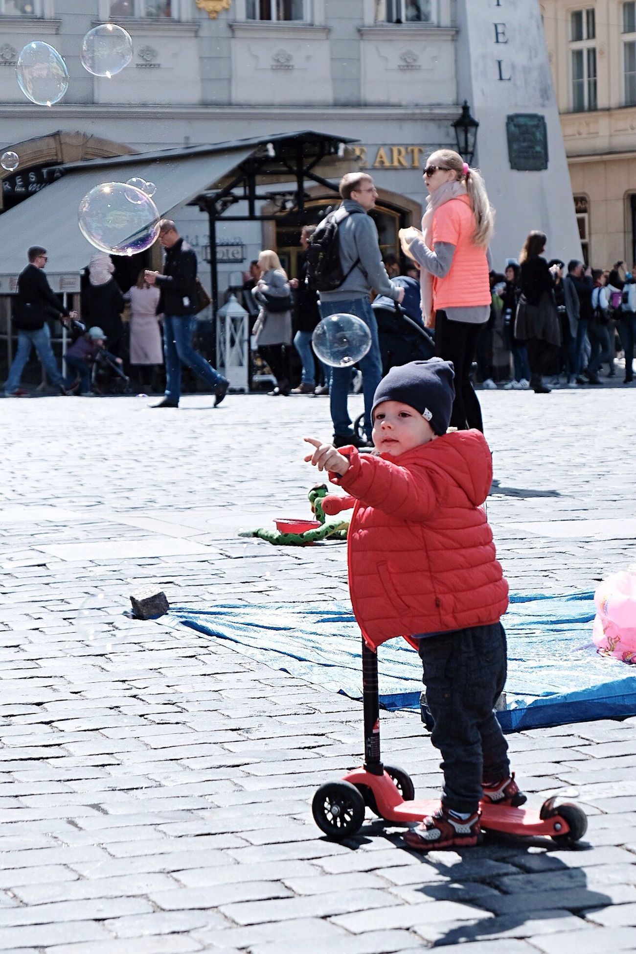 Baby boy Boy Child Full Length People Headwear Real People Bubbles Reaching Lifestyles Childhood Day Outdoors