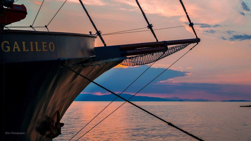 Sunset Sea Water Sky Horizon Over Water Cloud - Sky No People Outdoors Nature Greek Islands Camera - Photographic Equipment Colorfull Photographing Greek Island Sailboat Sailing Ship Sails Aegina Golden Hour Street Photography Scenics Canon