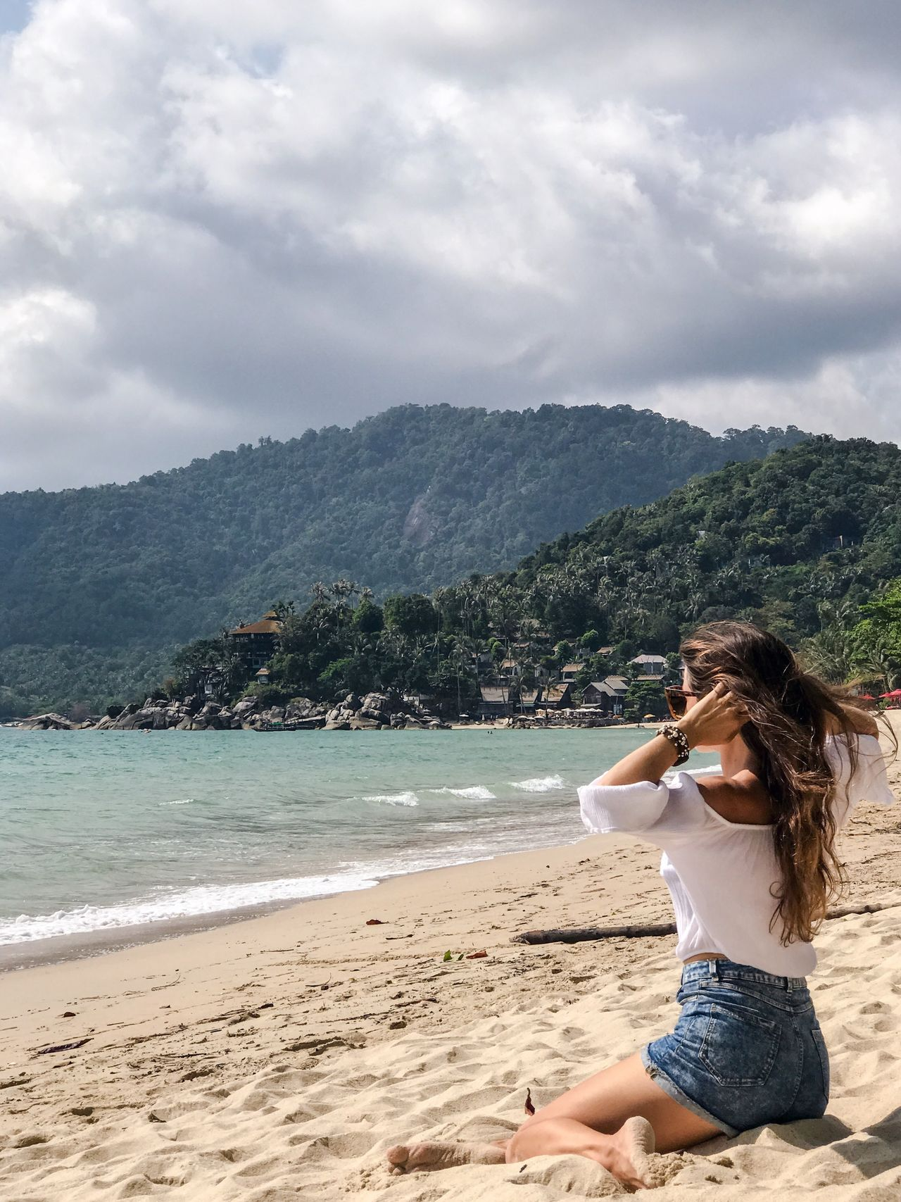 Adults Only Beach Beautiful Woman Beauty Beauty In Nature Cloud - Sky Day Leisure Activity Lifestyles Mountain Nature One Person One Woman Only Only Women Outdoors People Real People Relaxation Sand Sitting Sky Travel Destinations Tree Vacations Water