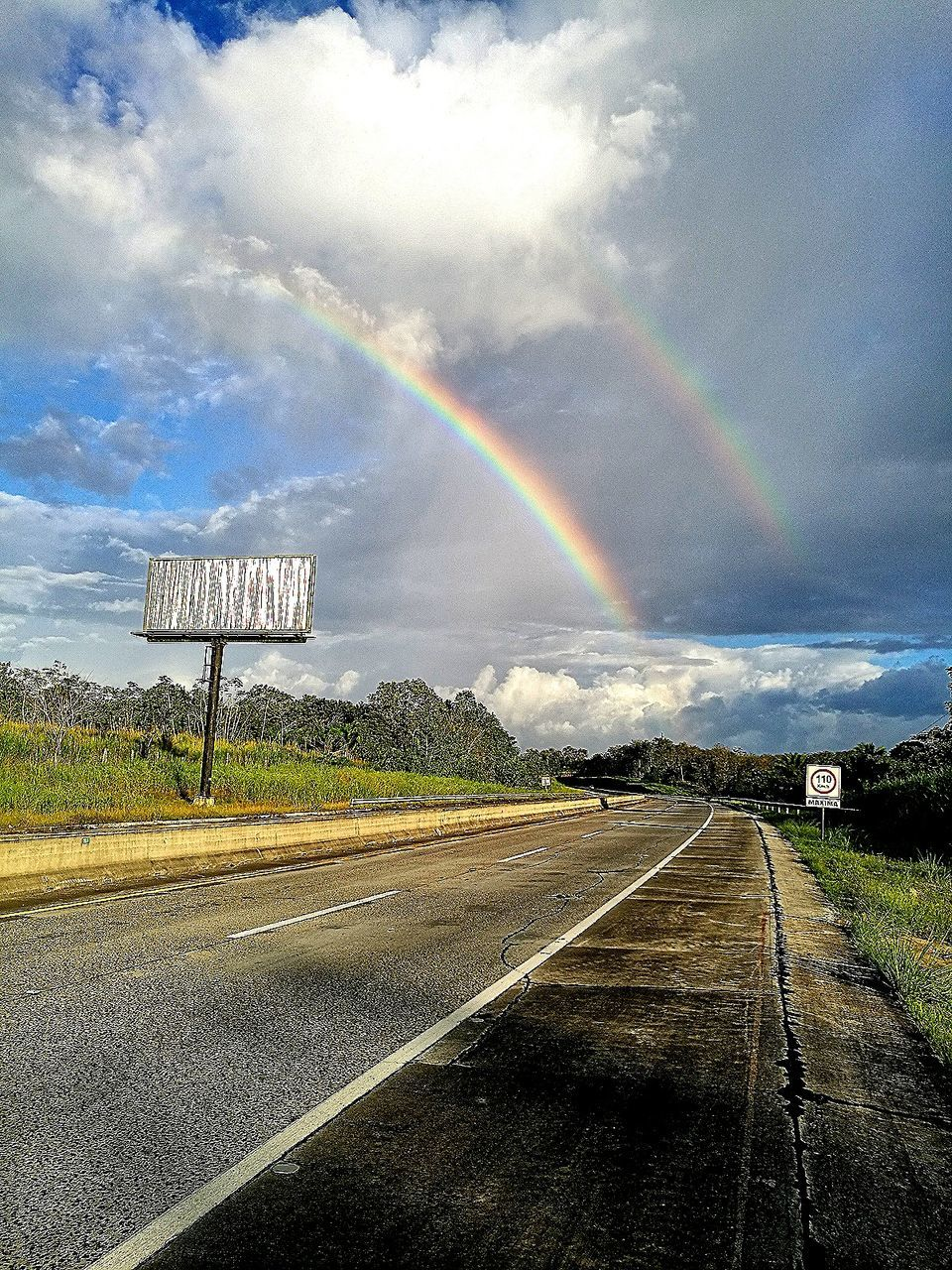 rainbow, road, cloud - sky, sky, transportation, double rainbow, the way forward, day, outdoors, no people, scenics, nature, beauty in nature